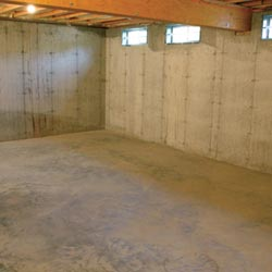 A cleaned out basement in Cherry Hill, shown before remodeling has begun