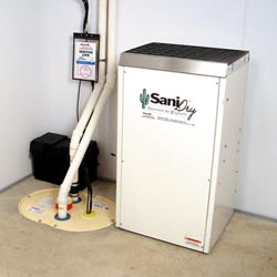 An ENERGY STAR® Rated basement dehumidifier installed in a home in Swedesboro