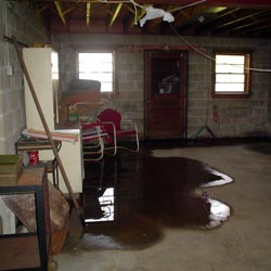 A flooded basement showing groundwater intrusion in Pedricktown
