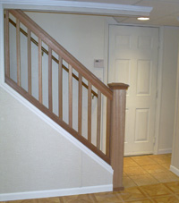 Renovated basement staircase in Camden