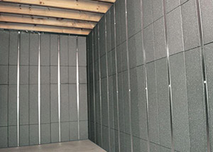 SilverGlo™ insulation and metal studs making up our Basement to Beautiful™ panels.  Installed in Washington Township.