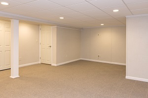 A complete finished basement system in a Moorestown home
