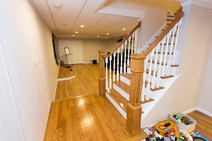 Finishing touches for a remodeled basement in Marlton