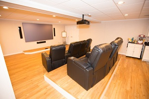A basement turned into a home theater in Pedricktown